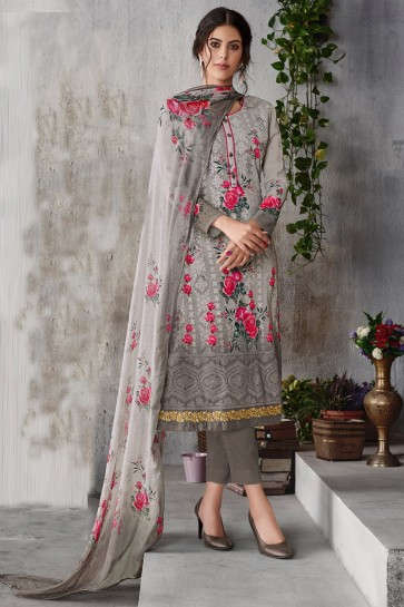 Grey Georgette Embroidered Salwar Suit With Chiffon Dupatta