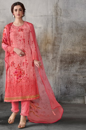 Supreme Pink Embroidered Georgette Salwar Suit With Chiffon Dupatta