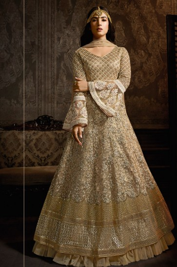 Golden Net Embroidered Anarkali Suit And Dupatta