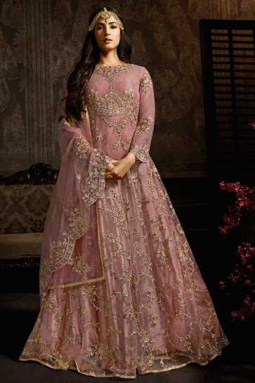 Admirable Wine Designer Net Embroidered Anarkali Suit And Dupatta