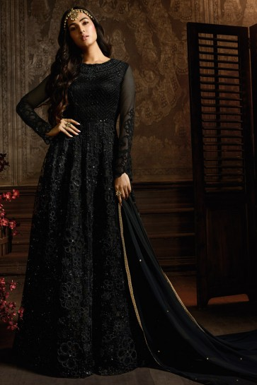 Charming Black Embroidered Net Anarkali Suit And Dupatta