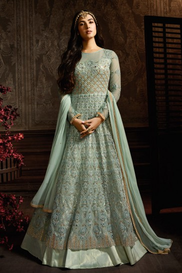 Dazzling Sky Blue Embroidered Net Anarkali Suit With And Dupatta