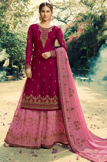 Amyra Dastur Maroon Embroidered And Lace Work Georgette Satin Lehenga Suit And Dupatta