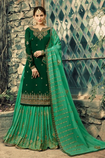 Delightful Amyra Dastur Green Embroidered And Beads work Georgette Satin Lehenga Suit And Dupatta