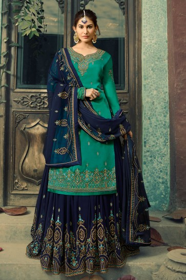 Amyra Dastur Lovely Lace Work Teal Georgette Satin Lehenga Suit And Dupatta