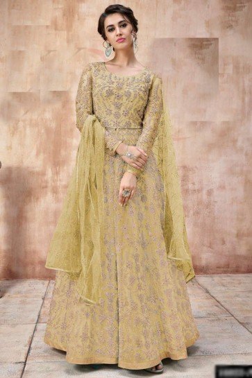 Net Fabric Embroidered And Lace Work Golden Abaya Style Anarkali Suit And Dupatta