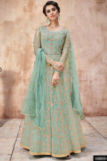 Lace Work And Beads Work Sea Green Net Fabric Abaya Style Anarkali Suit And Silk Satin Bottom