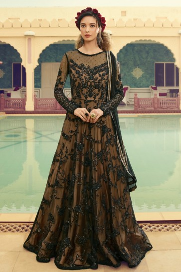 Beautiful Embroidered Black Net Anarkali Suit And Dupatta