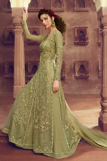 Charming Pista Net Embroidered Anarkali Suit And Dupatta