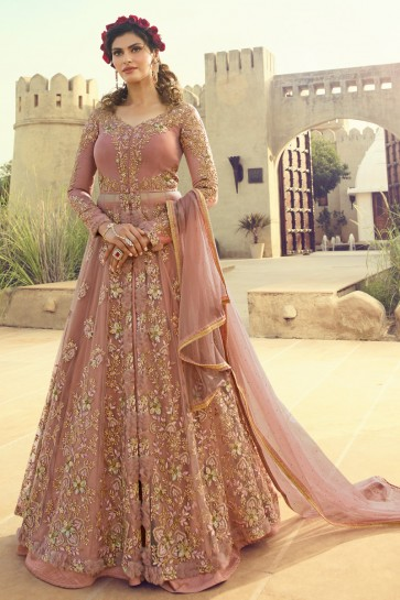 Elegant Peach Gold Embroidered Net Anarkali Suit And Dupatta