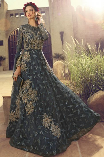 Gorgeous Grey Embroidered Net Anarkali Suit And Dupatta