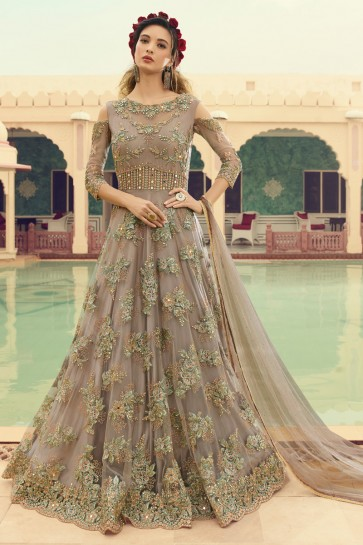 Lovely Embroidered Beige Net Anarkali Suit And Dupatta