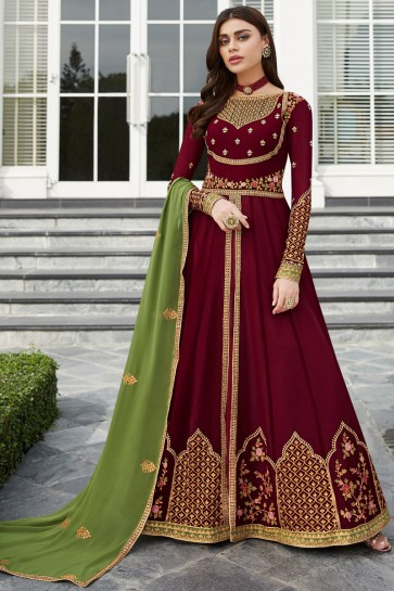 Maroon Georgette Embroidered Anarkali Suit And Dupatta