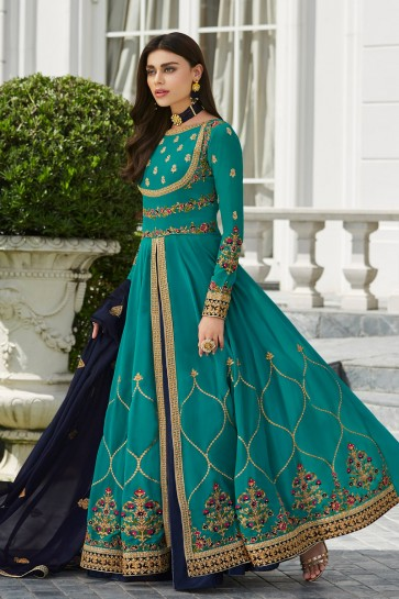 Beautiful Sky Blue Georgette Embroidered Anarkali Suit And Dupatta