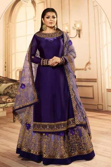 Drashti Dhami Purple Embroidered And Lace Work Georgette Satin Lehenga Suit With Net Dupatta