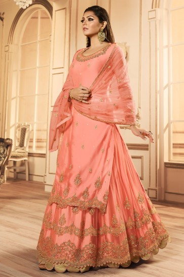Drashti Dhami Delightful Peach Embroidered And Lace Work Georgette Satin Lehenga Suit With Net Dupatta