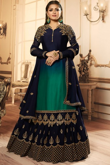 Drashti Dhami Charming Navy Blue Embroidered And Lace Work Georgette Satin Lehenga Suit And Dupatta