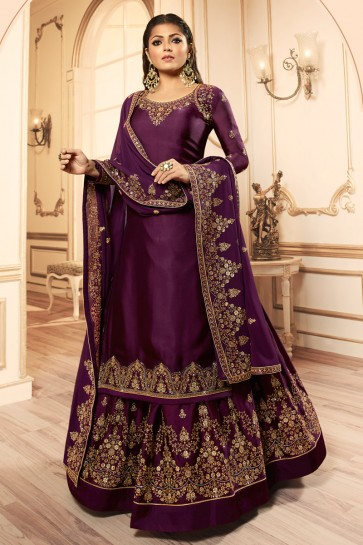 Drashti Dhami Lovely Embroidered And Lace Work Wine Georgette Satin Lehenga Suit And Dupatta