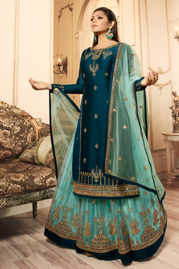 Drashti Dhami Gorgeous Georgette Satin Royal Blue Embroidered And Lace Work Lehenga Suit With Net Dupatta
