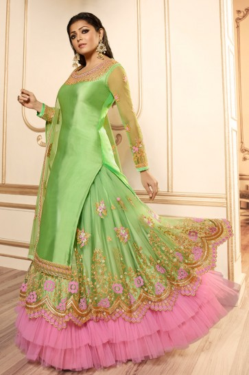 Drashti Dhami Party Wear Light Green Embroidered And Lace Work Lehenga Suit With Net Dupatta