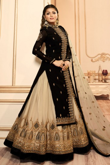 Drashti Dhami Black Georgette Satin Embroidered And And Lace Work Lehenga Suit With Net Dupatta