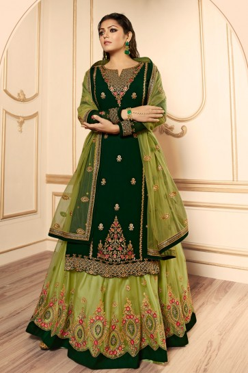 Drashti Dhami Green Embroidered And Lace Work Georgette Satin Lehenga Suit With Net Dupatta