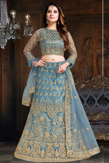 Admirable Grey Embroidered Net And Satin Lehenga With Net Dupatta