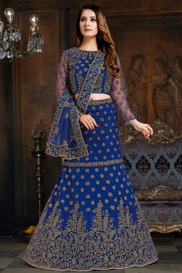 Excellent Net And Satin Royal Blue Embroidered Lehenga Choli With Net Dupatta