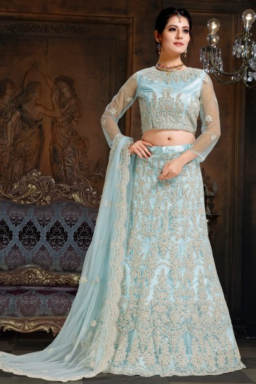 Ultimate Embroidered Sky Blue Net And Satin Lehenga Choli With Net Dupatta
