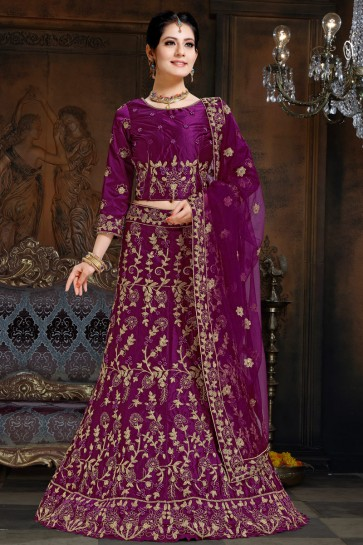 Classy Embroidered Violet Satin Lehenga With Net Dupatta