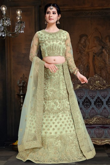 Splendid Pista Embroidered Net And Satin Lehenga Choli With Net Dupatta