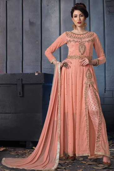 Designer Peach Embroidered Faux Georgette Anarkali Suit With Chiffon Dupatta