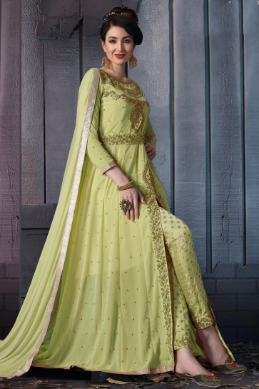 Beautiful Pista Embroidered Faux Georgette Anarkali Suit With Chiffon Dupatta