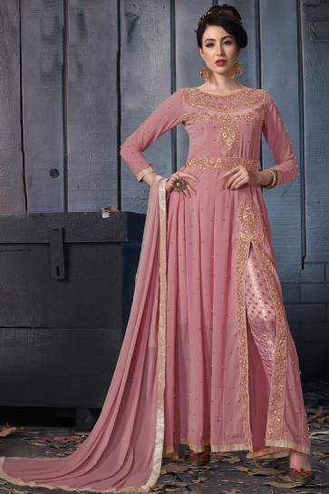 Charming Wine Embroidered Faux Georgette Anarkali Suit With Chiffon Dupatta