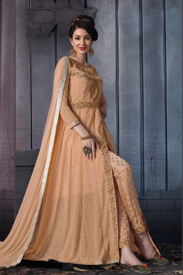 Embroidered Designer Cream Faux Georgette Anarkali Suit With Chiffon Dupatta