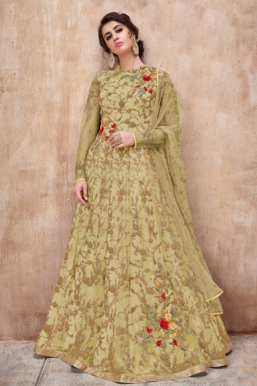 Beautiful Pista Net Embroidered Anarkali Suit And Dupatta