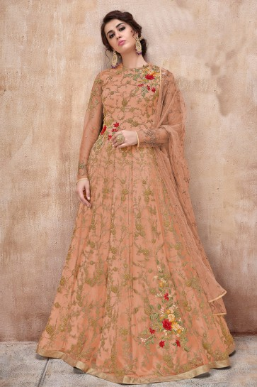 Charming Peach Embroidered Net Anarkali Suit And Dupatta