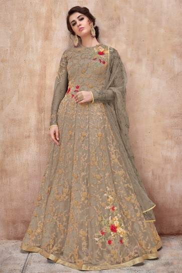 Designer Embroidered Grey Net Anarkali Suit And Dupatta