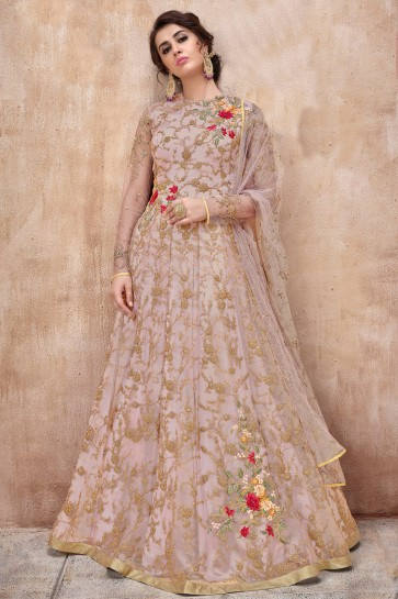 Wine Net Embroidered Anarkali Suit And Dupatta