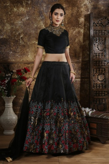 Dazzling Black Embroidered And Sequins Silk Lehenga Choli With Net Dupatta
