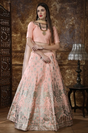 Baby Pink Silk Embroidered And Sequins Designer Lehenga Choli With Net Dupatta
