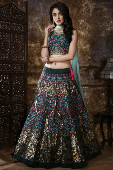 Marvelous Black Embroidered And Sequins Silk Lehenga Choli With Net Dupatta