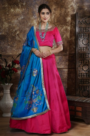 Pink Embroidered And Sequins Silk Lehenga Choli With Net Dupatta