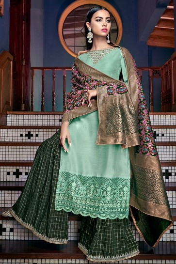 Beautiful Embroidered And Lace Work Sea Green Tussar Silk Plazzo Suit With Jacquard Dupatta