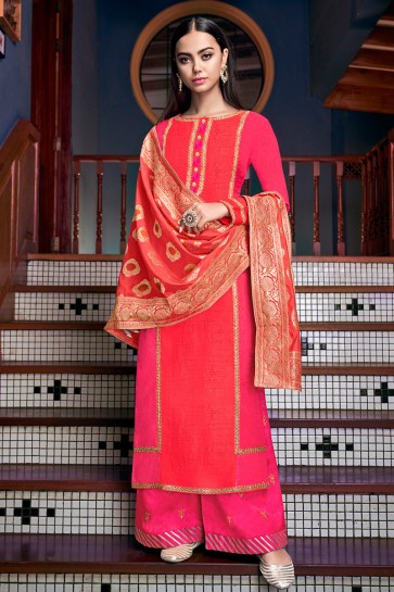 Appealing Silk Pink Embroidered And Lace Work Plazzo Suit With Jacquard Dupatta