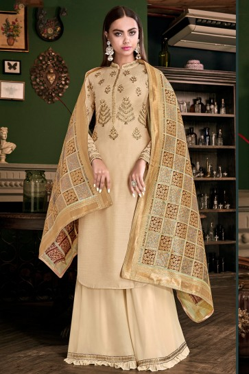 Charming Cream Embroidered And Lace Work Plazzo Suit With Jacquard Dupatta