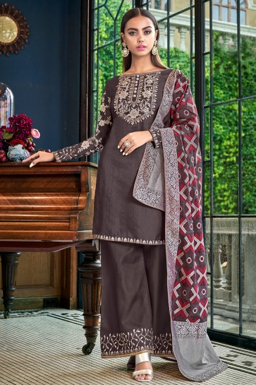 Dazzling Satin Charcoal Embroidered And Lace Work Plazzo Suit With Jacquard Dupatta
