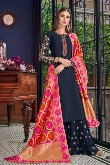 Delicate Navy Blue Embroidered And Lace Work Silk Plazzo Suit With Jacquard Dupatta