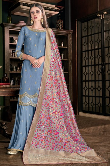 Elegant Silk Grey Embroidered And Lace Work Plazzo Suit With Jacquard Dupatta