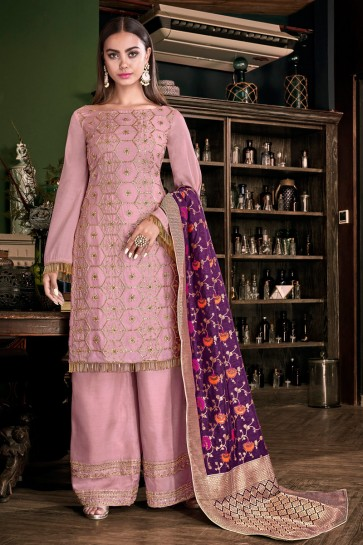 Fascinating Pink Embroidered And Lace Work Satin Plazzo Suit With Jacquard Dupatta